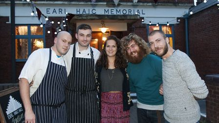 Staff of Earl Haig Hall, Crouch End celebrating its first birthday - pictured Gergo Baranyi, Luke