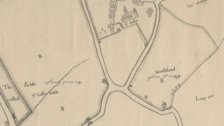A map of St Giles' leper hospital from 1585. Picture: Courtesy of Camden Local Studies and Archives
