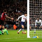 Tottenham Hotspur's Heung-min Son scores his side's fifth goal during the Premier League match again