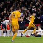 Wolverhampton Wanderers' Helder Costa celebrates scoring his side's third goal during the Premier Le