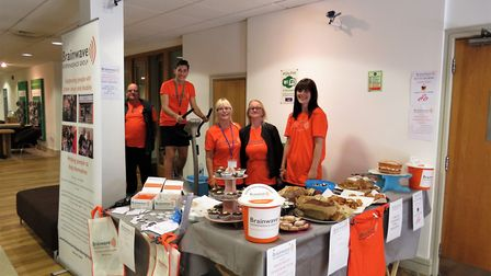 Volunteers from the Brainwave Independence Group took part in a static bike ride. Picture: Courtesy