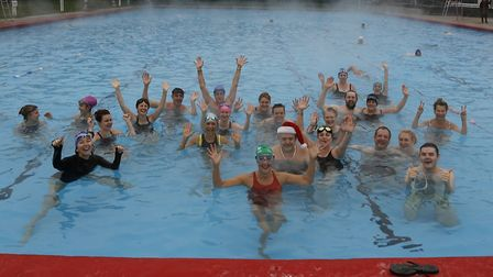 Swimmers at the lido, Park Road Leisure Centre on Christmas Day. Picture: Ruth Corney