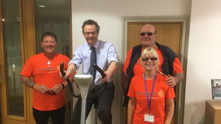 Waveney MP Peter Aldous also did a stint on the bike. Picture: Courtesy of the Brainwave Independenc
