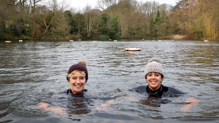 Kenwood Ladies Pond New Years Day swim 2019.Pictured woolly hatted swimmers Christine and Shama. Pi
