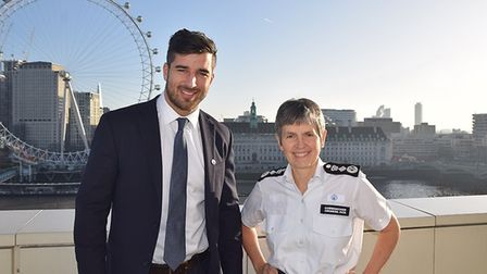 Sgt Matthew Ebbs with Commissioner Cressida Dick after receiving a bravery commendation. Picture: Me