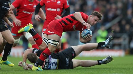 Saracens' Ben Earl is tackled by Exeter's Luke Cowan-Dickie (pic: David Davies/PA