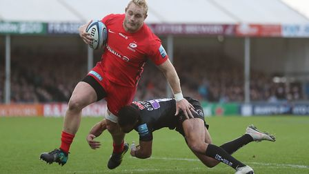 Saracens' Vincent Koch is tackled by Exeter's Tom O'Flaherty (pic: David Davies/PA)