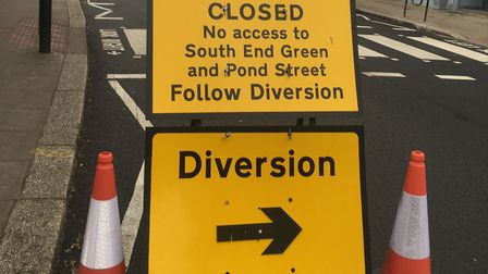 A diversion sign in place showing pedestrians and road users that Fleet Road is closed from South En