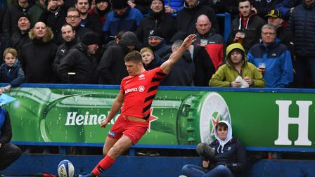 Owen Farrell kicked 16 points for Saracens at Cardiff Blues in the Heineken Champions Cup (pic: Simo