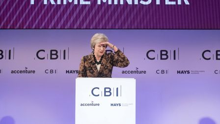 Prime Minister Theresa May speaking at the CBI annual conference. (Photograph: Stefan Rousseau)