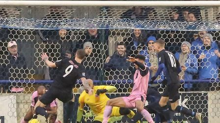 Dulwich Hamlet somehow deny Wingate & Finchley from a goalmouth scramble which later went viral (pic