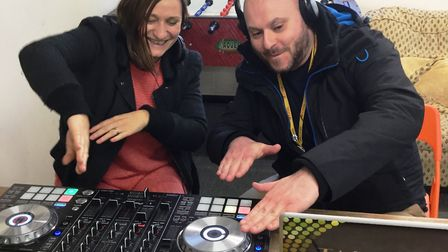 Rock On funding is celebrated as DJ Sophie and Lee Johnson, the arts and culture education co-ordina