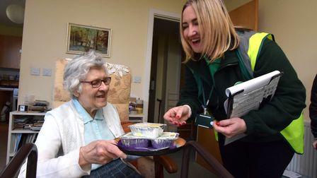 LILS Community Team Driver Rosie Brennan delivers lunch to Patricia Hope, 80. Picture: Polly Hancock