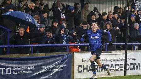 Wingate & Finchley forward Rob Laney celebrates his goal against Dulwich Hamlet (pic: Martin Addison