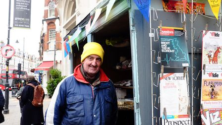 Paul Saxton at his newspaper stall on his 40th anniversary at his newspaper stall in the Broadway, o