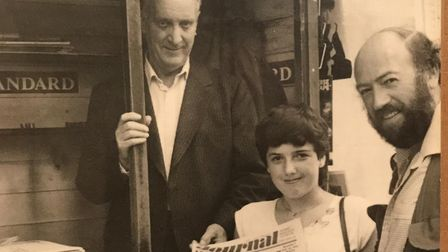 Paul's father Jim (far left), with two customers in September 1983, months before Jim died. Picture: