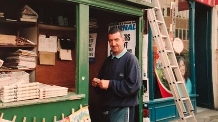 Paul Saxton at his stall in the early 2000s. Picture: Paul Saxton