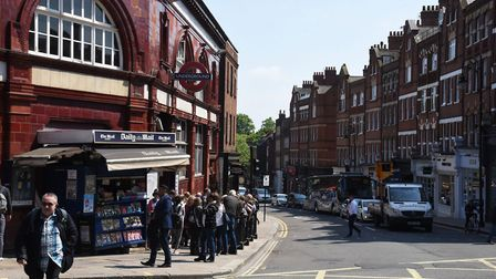 Hampstead Underground and the High Street. Picture: Ken Mears