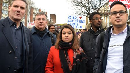 Andrew Dismore, second left, at the Camden Against Violence march last year alongside MPs Keir Starm