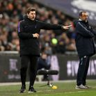 Tottenham Hotspur manager Mauricio Pochettino (left) gestures on the touchline alongside Chelsea bos