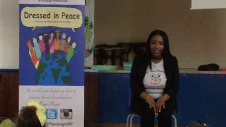 Nyesha Jones visited Tyssen Primary School to talk about her book Dressed in Peace
