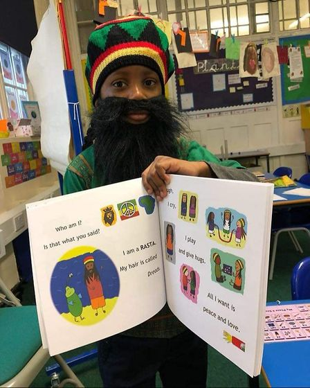 Nyesha Jones' son dressed up as a Rasta for World Book Day, to depict one of the characters in her b