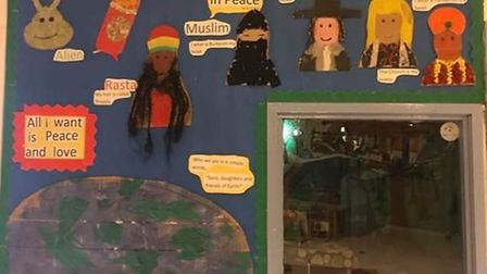 Rosemary Works tots put together a display after Nyesha Jones' visit to share her book Dressed in Pe