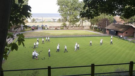 On the bowls green at Sparrows Nest Bowls Club. Picture: Nick Butcher