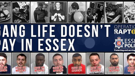 Publicity by Essex Police following the round-up of the Jay Boys in London and Clacton. Picture: Ess