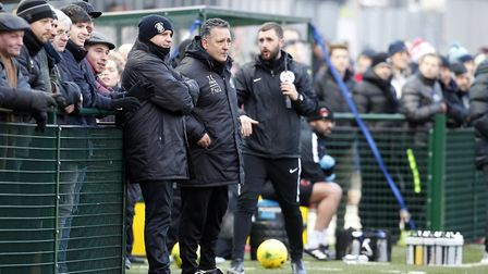 Haringey Borough manager Tom Loizou looks on from the touchline at Coles Park (pic: Simon O'Connor).