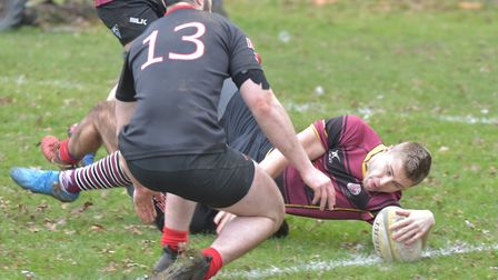 UCS Old Boys score a try against Saracens Amateurs in Herts/Middlesex One (pic: Nick Cook)
