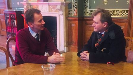 Picture taken from the twitter feed of Foreign Secretary Jeremy Hunt with Richard Ratcliffe, the hus