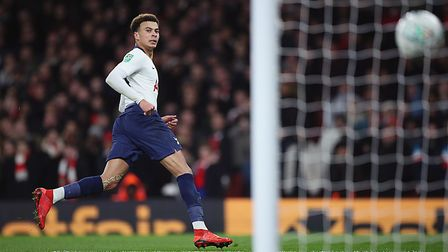 Tottenham Hotspur's Dele Alli scores his side's second goal during the League Cup quarter-final matc
