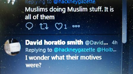 An example of the Islamophobic messages the Hackney Gazette received.