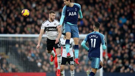 Fulham's Calum Chambers (left) and Tottenham Hotspur's Fernando Llorente battle for the ball during
