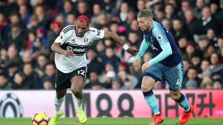 Fulham's Ryan Babel (left) and Tottenham Hotspur's Toby Alderweireld battle for the ball during the