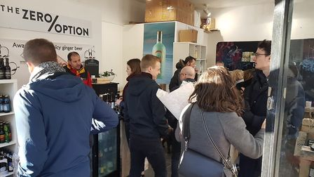 Crowds inside The Zero Option for a sparkling wine tasting on Sunday January 20.