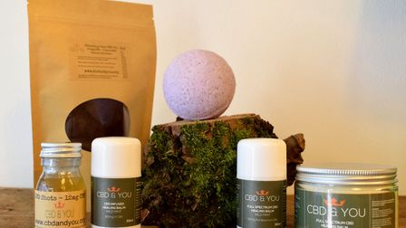 CBD & You products including coffee, shot drink bath ball, and healing balm. Picture: Polly Hancock