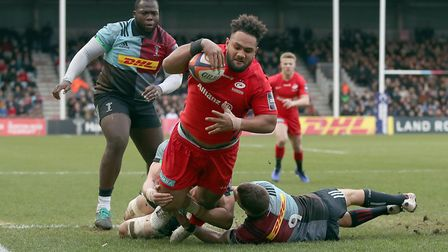 Saracens' Sione Vailanu scores a try during the Premiership Cup match against Harlequins at the Twic