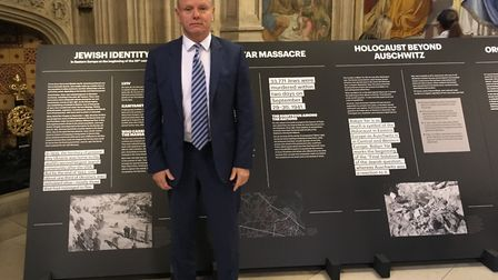 Mike Freer MP at the opening of travelling exhibition - Babyn Yar Holocaust Memorial Center