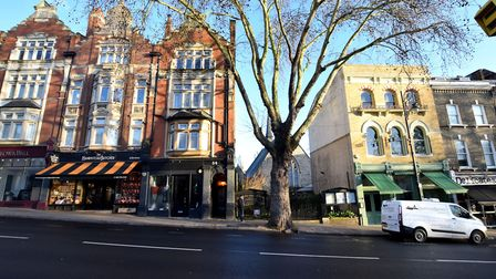 Hampstead Butchers (left, with striped awning) and Cafe Hampstead (right, with green awning) are onl