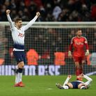 Tottenham Hotspur's Fernando Llorente (left) and Heung-min Son celebrate after the Premier League ma