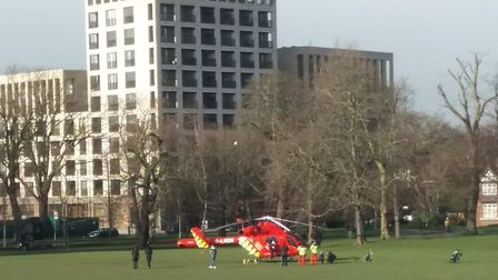 The air ambulance in Clissold Park. Picture: Robin Lee