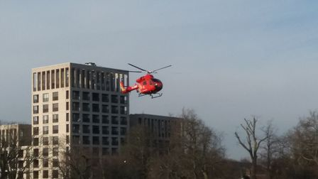The air ambulance landing in Clissold Park. Picture: Robin Lee