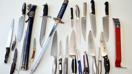 Some of the 369 blades seized in 2017 by Hackney Police. Picture: Polly Hancock