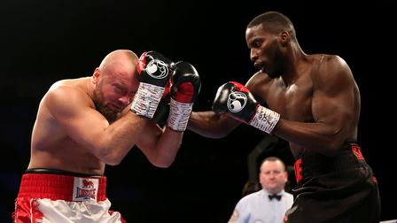 Tamas Lodi (left) and Lawrence Okolie during the WBA continental cruiserweight championship at The O