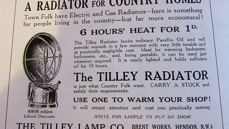 An ad from 1925 for the Tilley radiator