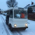 Palace Dairy's Steve Reynolds' milk float during his deliveries this morning. Picture: Steve Reynold