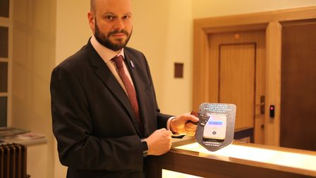 Mayor of Hackney Philip Glanville unveiled the first in a series of contactless donation points to h