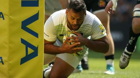 Saracens' Billy Vunipola scores their first try during the 2018 Aviva Premiership Final at Twickenha